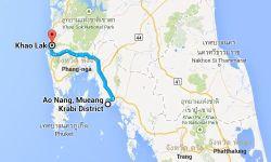 Ungefähre Route mit dem Taxi von Ao Nang (Krabi) nach Khao Lak