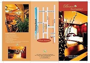 Flyer vom Baan Sudarat Hotel mit Lagebeschreibung