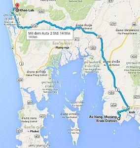 Route mit dem Taxi von Ao Nang (Krabi) nach Khao Lak